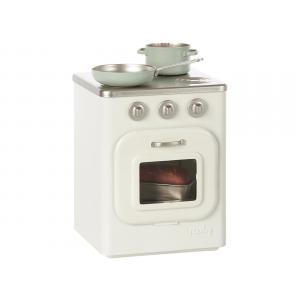Maileg - BU026 - Poêle en métal, valise avec. gâteaux et vaisselle pour 2, set de table à manger, Mini (415558)