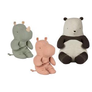 Maileg - BU029 - Poupées panda moyen, amis safari petit rhino vert, amis de safari, petit hippo rose (415564)