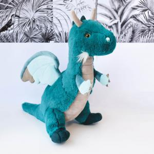 Histoire d'ours - HO2966 - Peluches Dragon émeraude 60 cm  - collection Jungle chic (416196)