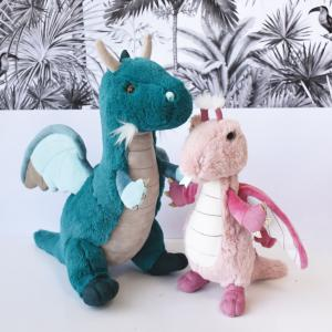 Histoire d'ours - HO2965 - Peluches Dragon émeraude 40 cm - collection Jungle chic (416200)