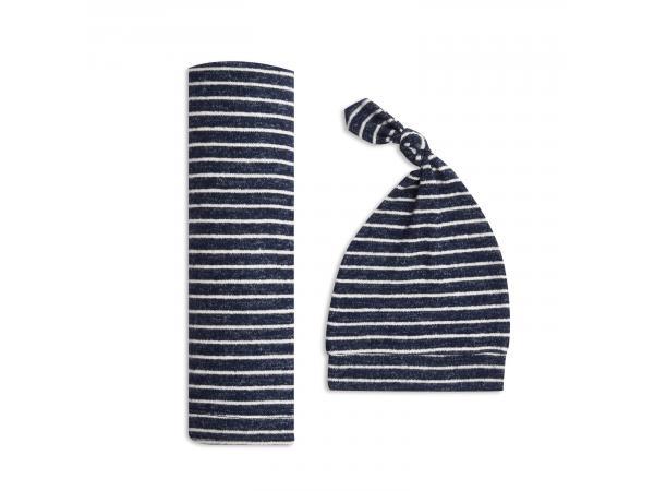 Coffret cadeau maxi-lange maile cosy navy stripe (taille unique)