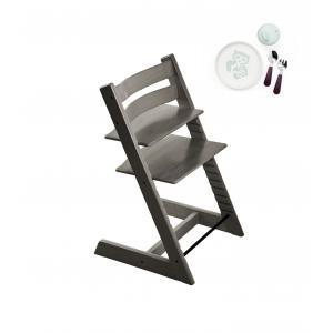 Stokke - BU194 - Chaise haute enfant Tripp trapp gris brume et coffret essentiels repas (418250)