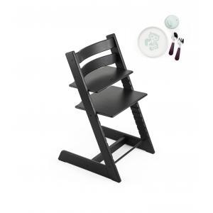 Stokke - BU199 - Pack chaise haute enfant Tripp trapp Noir et coffret Munch repas essentiels (418254)