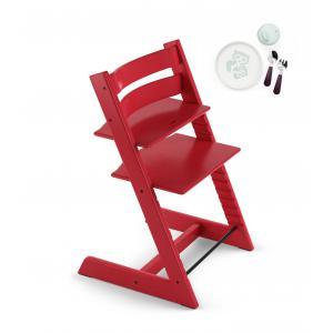Stokke - BU161 - Tripp trapp chaise haute rouge avec coffret repas essentiels Stokke (418260)