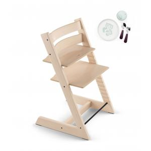 Stokke - BU160 - Stokke tripp trapp chaise haute naturel avec coffret repas essentiels (418262)