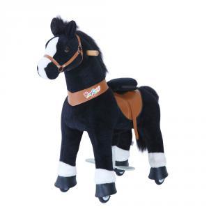 Ponycycle - U426 - Cheval noir avec bas des jambes blancs grand modèle - 84x40x97 cm (418688)