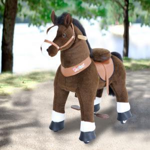 Ponycycle - U421 - Cheval marron foncé et bas des jambes blancs grand modèle - 84x40x97 cm (418692)