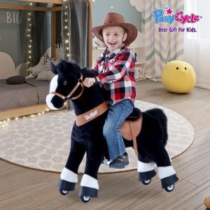 Ponycycle - U326 - Cheval noir avec bas des jambes blancs petit modèle - 69x33x79 cm (418698)