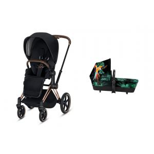 Cybex - BU266 - Pack Poussette PRIAM LUXE rosegold nacelle Birds of paradise (418946)