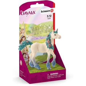 Schleich - 70591 - Figurine Licorne aux fleurs, poulain - Dimension : 9,1 cm x 6,6 cm x 18 cm (419998)