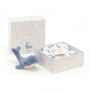 Jellycat - WIL2SET - Coffret naissance baleine Wilbur lange + peluche - L = 8 cm x l = 18 cm x H =18 cm (420222)