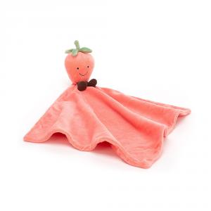 Jellycat - AS4S - Doudou plat fraise Amuseable Soother - L = 13 cm x l = 34 cm x H =34 cm (420238)