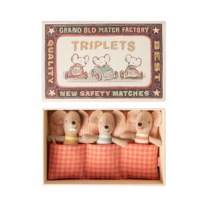Maileg - 16-0710-01 - Bébés Souris, Les Triplés dans leur boîte à allumettes -  8 cm (421604)