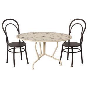 Maileg - 11-9101-01 - Dining table set, Mini - Anthracite - Taille 8 cm - à partir de 36 mois (421740)