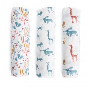 Moulin Roty - 669291 - Set de 3 langes imprimés (bleu/girafe/animaux) Sous mon baobab (422744)
