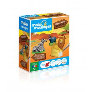 Mako moulages - 39059 - Moulage DESTINATION SAVANE  - Etui 3 moules (zèbre-lion-hippopotame) (422908)