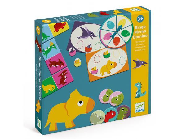 Jeu éducatif bingo memo domino - dinosaures