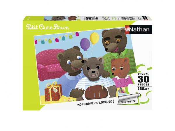 Puzzle 30 pièces - l'anniversaire de petit ours brun