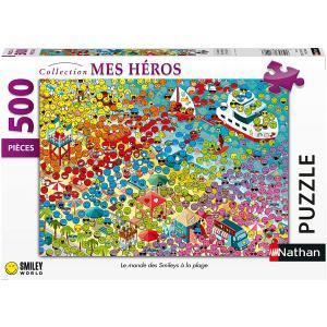 Nathan puzzles - 87238 - Puzzle N 500 pièces - Le monde des Smileys à la plage (426744)