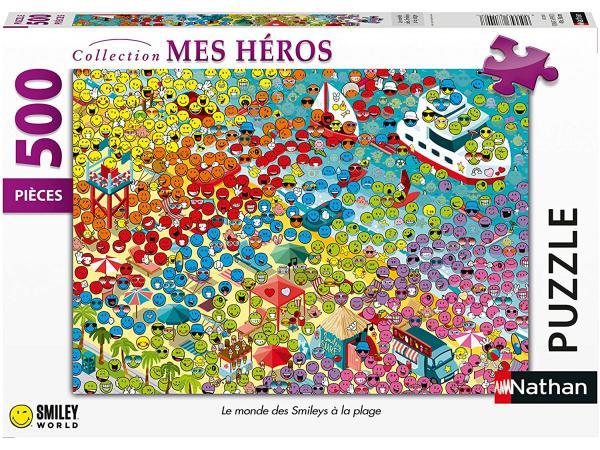 Puzzle n 500 pièces - le monde des smileys à la plage