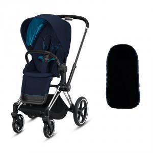 Cybex - BU330 - Poussette La Priam plus de confort et sécurité avec chancelière - Chrome noir, nautical blue (426820)