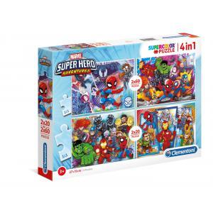 Clementoni - 24769 - Puzzle 2x20+2x60 pièces - Marvel Superhero (427054)