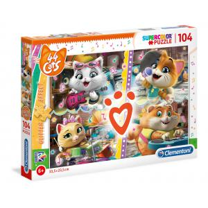 Clementoni - 27539 - Puzzle enfants 104 pièces - Glitter - 44 Cats (427088)