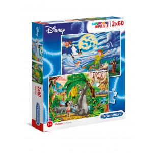 Clementoni - 21613 - Puzzle enfants 2x60 Pièces - Peter Pan & Le Livre de la Jungle (427224)
