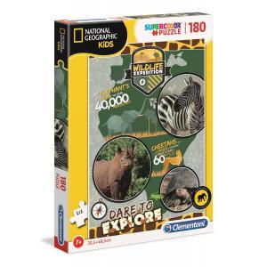 Clementoni - 29207 - Puzzle enfants National Geographic Kids 180 pièces - Sauvage (427364)