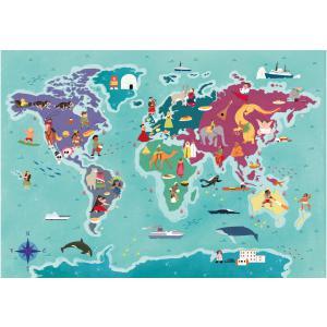 Clementoni - 29064 - Puzzle enfants Exploring Maps 250 Pièces - Monde - Traditions et Gastronomie (427376)