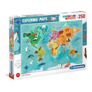Clementoni - 29063 - Puzzle enfants Exploring Maps 250 Pièces - Monde - Animaux (427378)