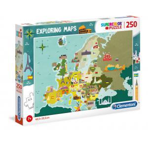 Clementoni - 29062 - Puzzle enfants Exploring Maps 250 Pièces - Europe - Monuments et Merveilles (427380)