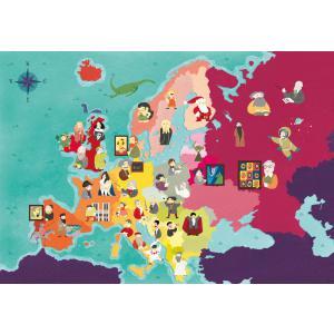 Clementoni - 29061 - Puzzle enfants Exploring Maps 250 Pièces - Europe - Célébrités (427382)