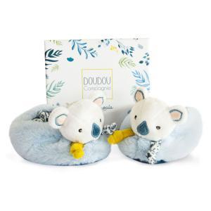 Doudou et compagnie - DC3675 - Chaussons avec hochet - yoca le koala  - 0-6 mois (428002)