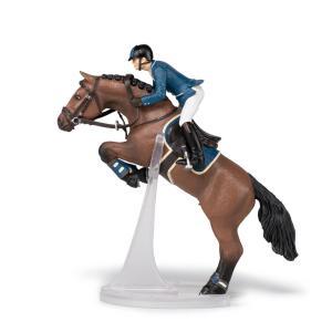 Papo - 51562 - Cheval de saut d'obstacle et son cavalier - Dim. 16 cm x 10 cm x 19 cm (430274)
