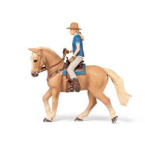 Papo - 51566 - Cheval western et sa cavalière - Dim. 10 cm x 16 cm x 19 cm (430280)