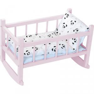 Petitcollin - 800127 - Lit bercelonnette en bois laqué rose panda pour poupée jusqu'à 40 cm (431452)