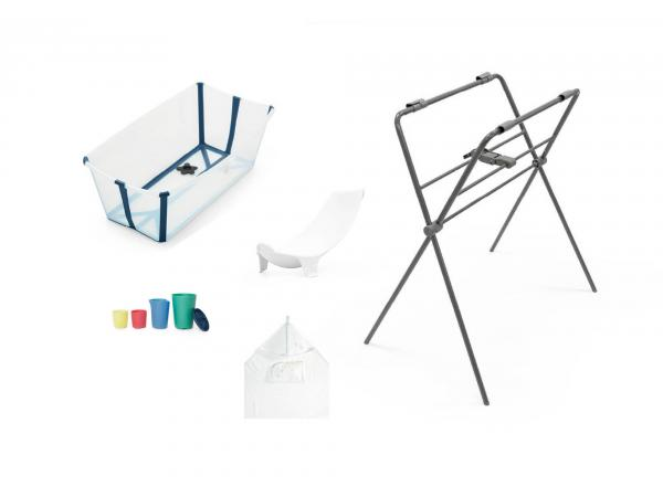Set de bain baignoire, support, transat nouveau-né, cape de bain, jouets - transparent blue