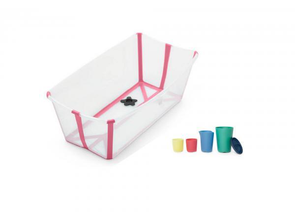 La baignoire pliable avec jouets de bain - transparent rose