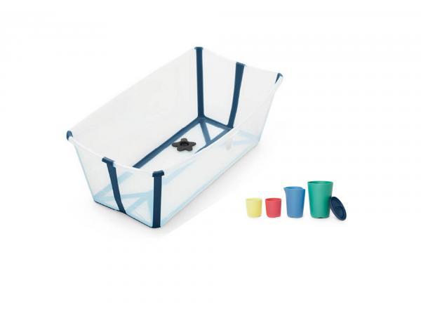 Stokke flexi bath baignoire et jouets de bain - transparent blue