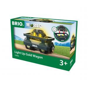 Brio - 33896 - Wagon lumineux charge d'or - Thème Transport de marchandises - Age 3 ans + (433362)