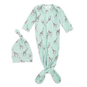 Aden and Anais - AGHK20005 - Coffret cadeau bébé grenouillère nouée et bonnet Girafe jade (436428)