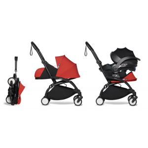Babyzen - BU659 - Poussette naissance YOYO2 rouge combiné avec siège auto iZi go Modular et ombrelle (cadre noir nouveau pack 0+) (451370)