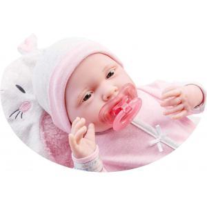 Berenguer - 18789 - Pink Soft Body Le Newborn dans Bunny Bunting et accessoires. Corps souple nouveau-né. Costume rose avec couverture. (451888)