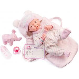 Berenguer - 18791 - Rose Soft Body La Newborn dans un panier de transport souple et des accessoires. Corps souple nouveau-né. Costume r (451892)