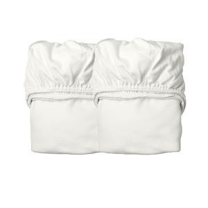 Leander - 780013-60 - Lot de 2 draps housse bébé en coton BIO, Blanc (452372)