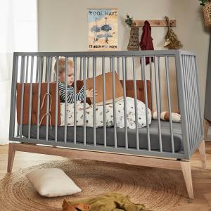 Leander - 780013-62 - Lot de 2 draps housse bébé en coton BIO, Gris (452374)
