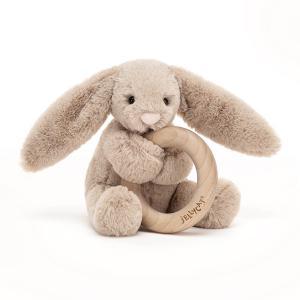 Jellycat - BAS4WBB - Bashful Beige Bunny Wooden Ring Toy - 13 cm (452852)