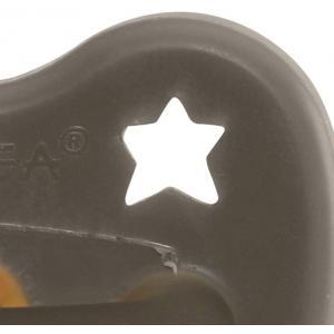 Hevea - 210721 - HEVEA Sucette 3 m+ caoutchouc naturel Shitake Grey/orthodontique/étoile & lun (452954)