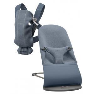 Babybjorn - BU005 - Pack nouveau-né (transat bliss, porte-bébé) Bleu chiné, Jersey 3D (453019)